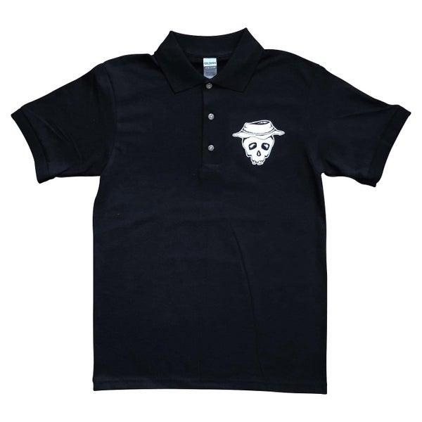 "Image of Black ""Bucket Skull"" Polo"