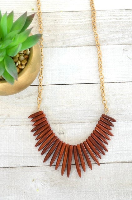 Faux Wood Spike Necklace