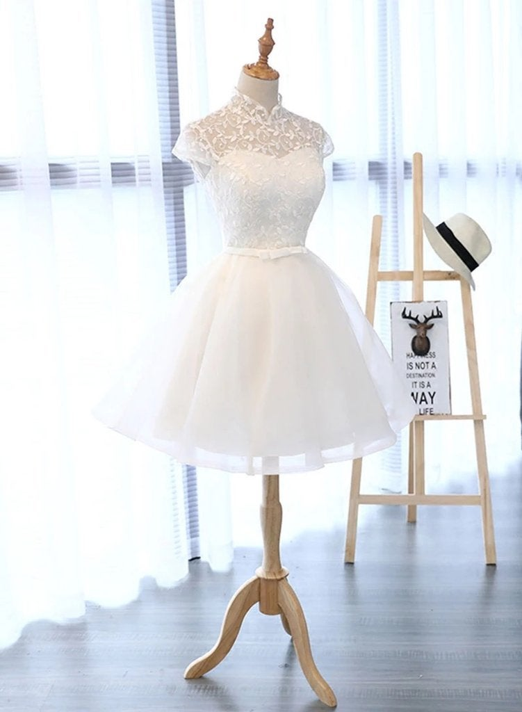 Cute White Cap Sleeves Graduation Dress, Short Party Dress