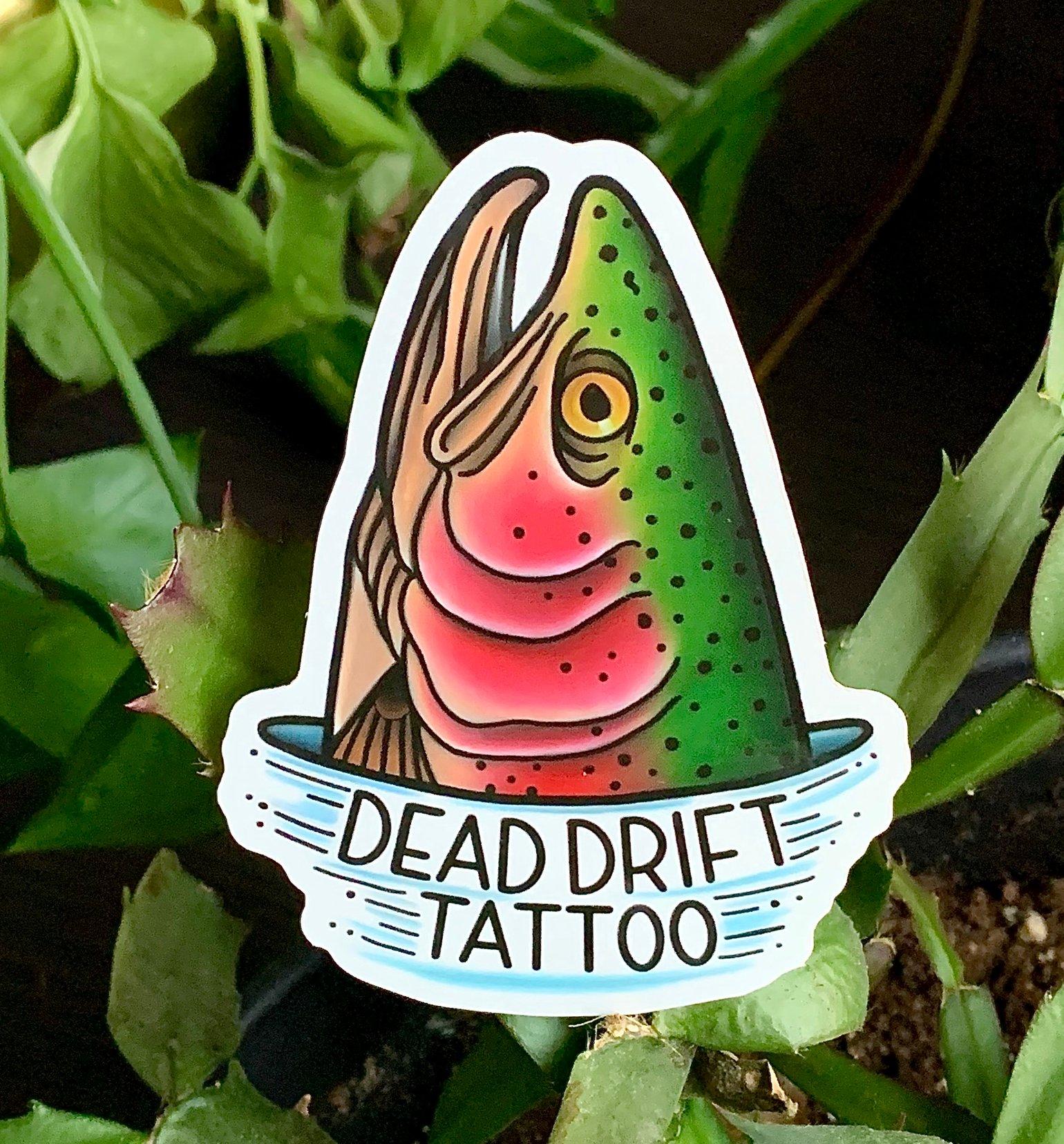 Image of Dead Drift Tattoo rainbow trout sticker