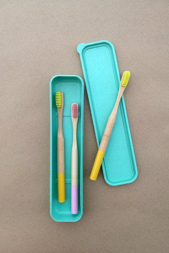 Image of Set of 3 Color Bamboo Toothbrushes (Adult) + Wheat Box