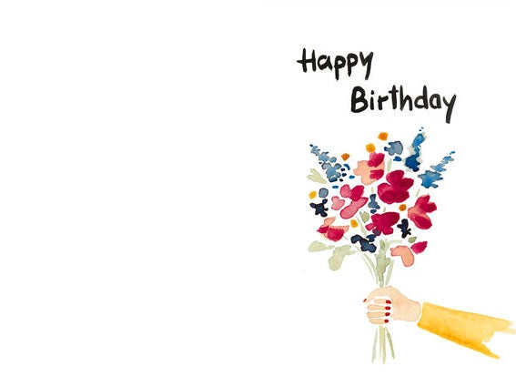 Image of POSTKARTE Happy Birthday Flowers