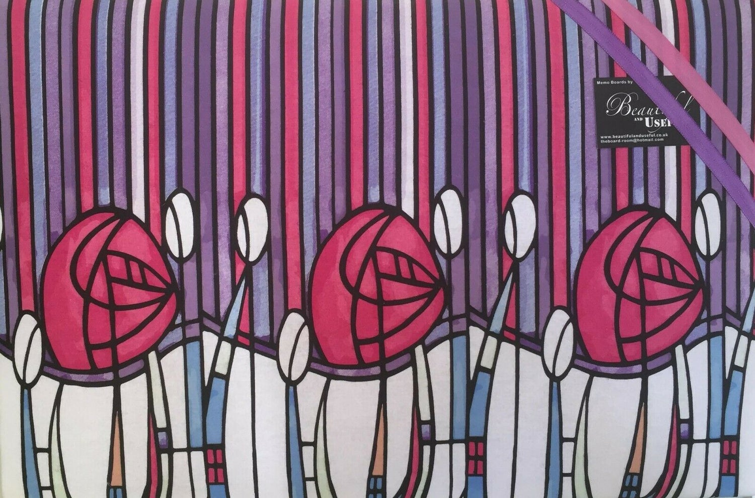 Image of Charles Rennie Mackintosh Roses fabric covered,Art Nouveau/Deco,Pin board