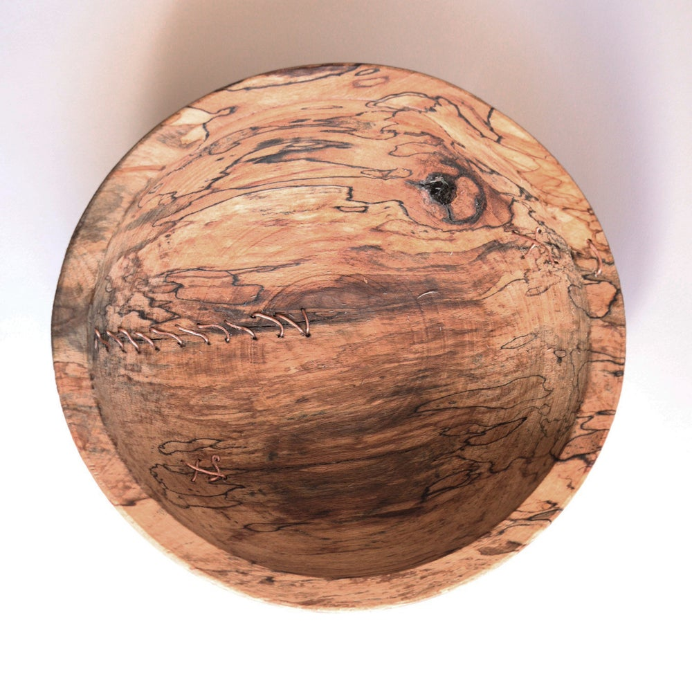 Pole Lathe Turned Beech Bowl with Copper Mend