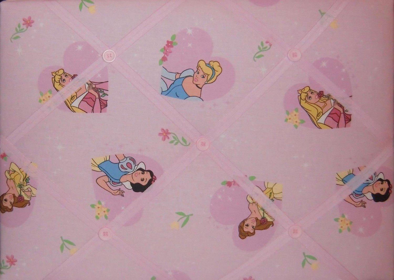 Image of Disney Princess fabric covered, box framed Memo/Message/Invitation/notice Board