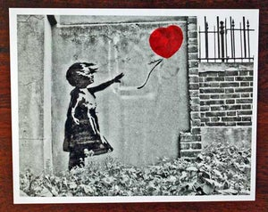 "Image of Banksy - Girl With Balloon - B&W 10"" x 8"" photo- Hand coloured red balloon, and S/N out of 18 copies"