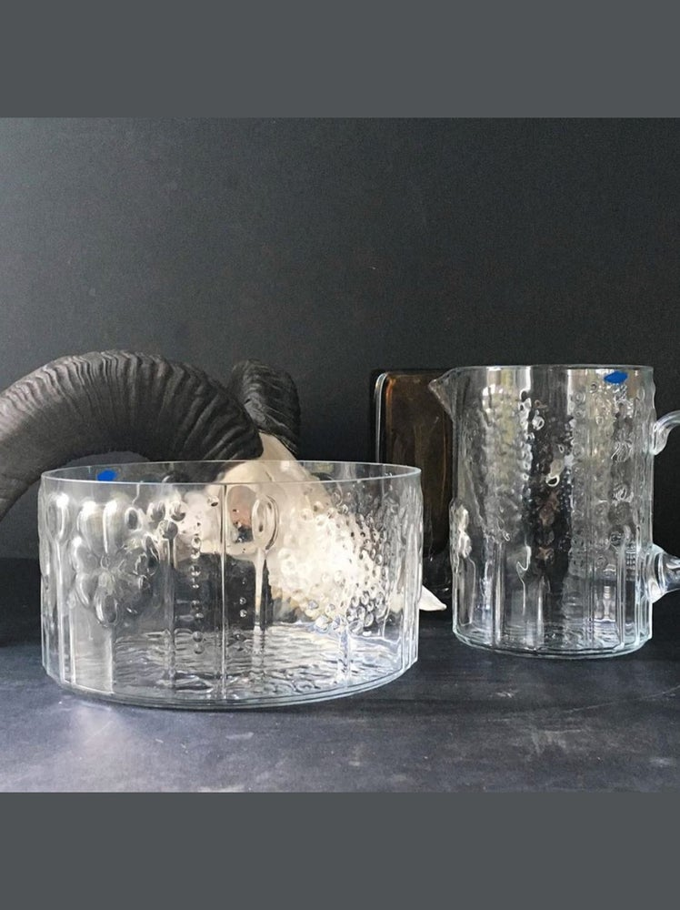 Image of Flora Glass Jug & Bowl by Oiva Toikka for Nuutajarvi
