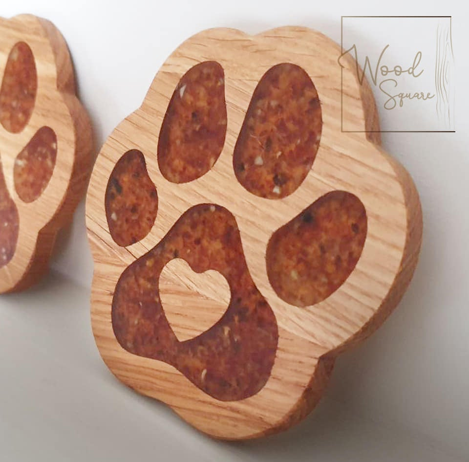 Image of Paw Print Coasters with Baltic amber
