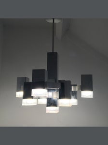 "Image of 9 Light ""Cubic"" Chandelier by Sciolari"