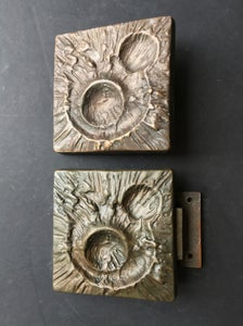 Image of Set of Two Bronze Door Handles with Lunar Landscape Design