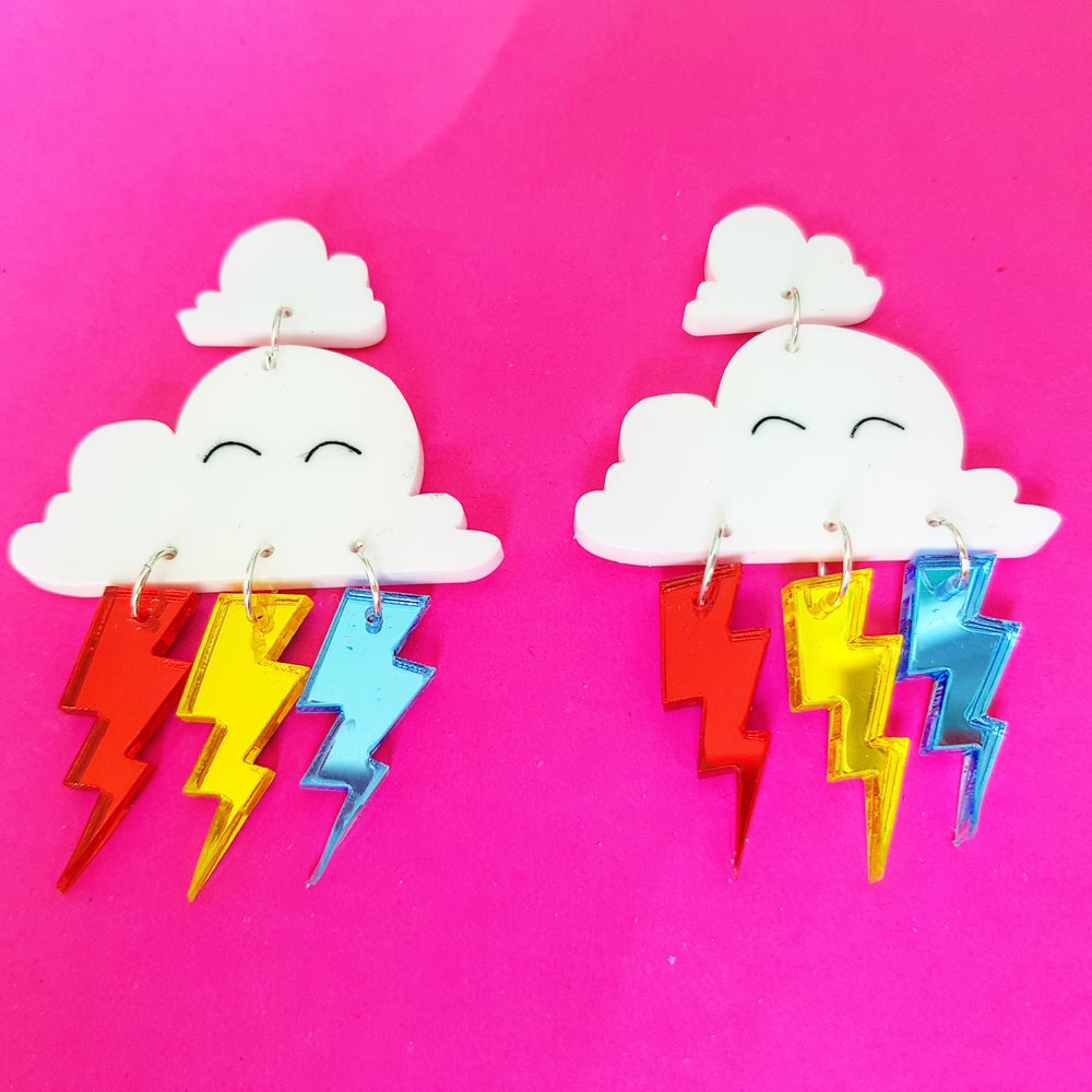 Image of Rainbow Cloud Earrings.