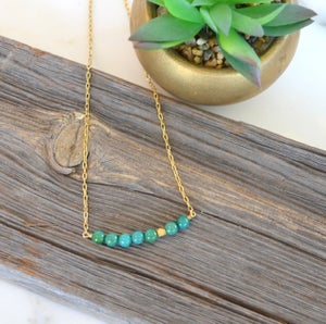 Turquoise Bead Bar Necklace