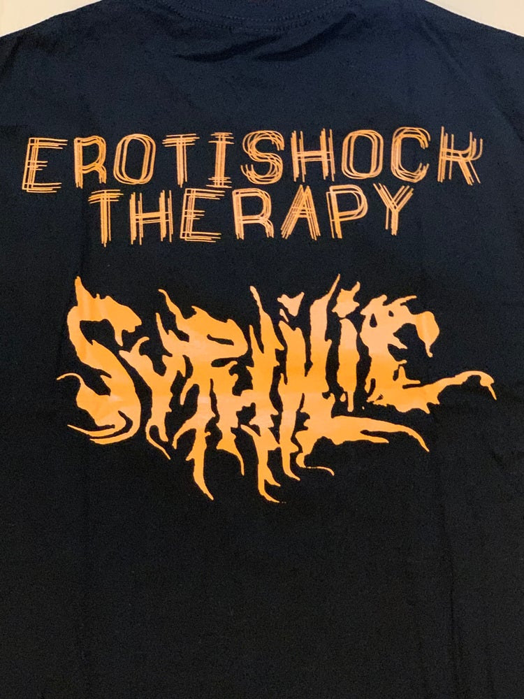 """Image of Officially Licensed Syphilic """"Erotishock Therapy"""" Cover Art Short Sleeve Shirts!"""