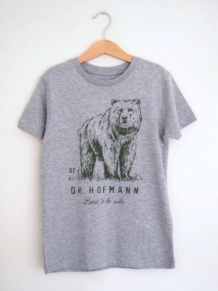 "Image of Kids ""BEAR"" Tee - Organic Cotton - Sport grey"