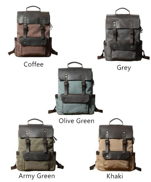 Image of Canvas Leather Backpack Casual Backpack Rucksack School Backpack FX064-1
