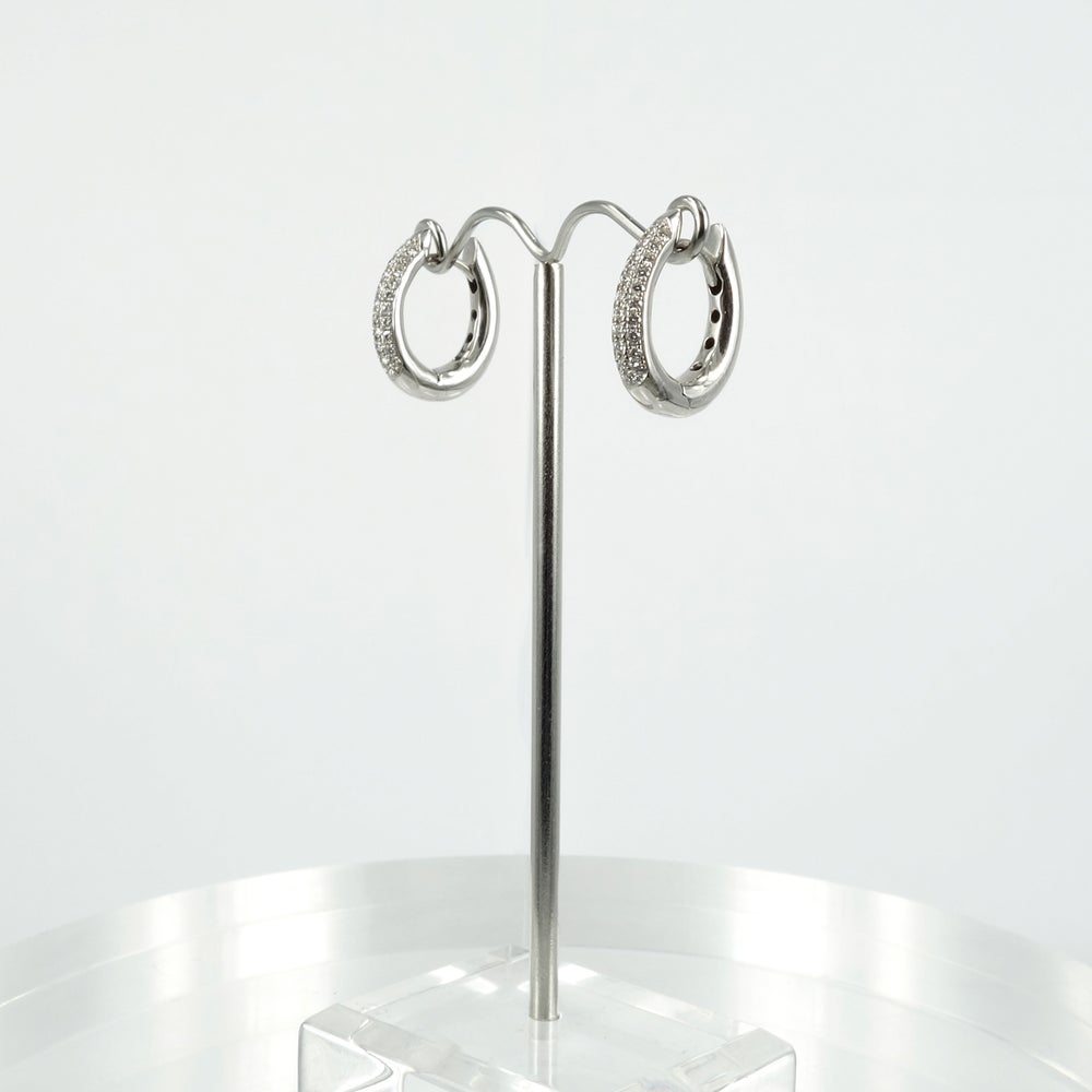 Image of E1610 - 18ct white gold diamond pave hoop earrings