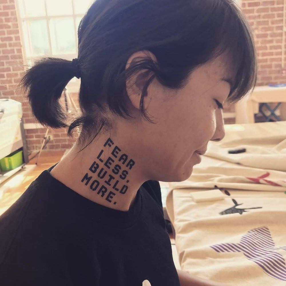 Fear Less. Build More. temporary tattoo