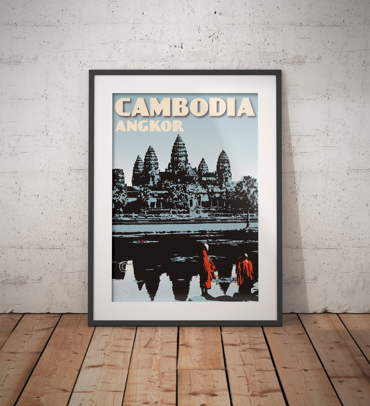 Image of Vintage poster Cambodia Cambodge - Angkor Wat Blue - Fine Art Print