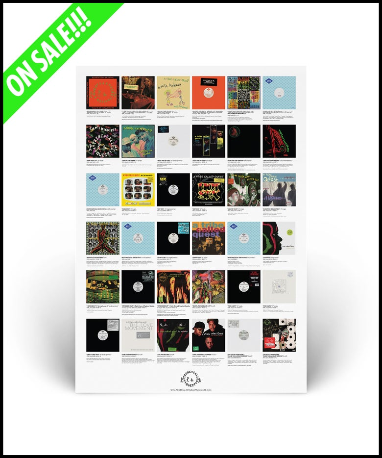 """Image of """"A Tribe Called Quest - U.S. Discography"""" limited edition A2 lithograph poster print"""