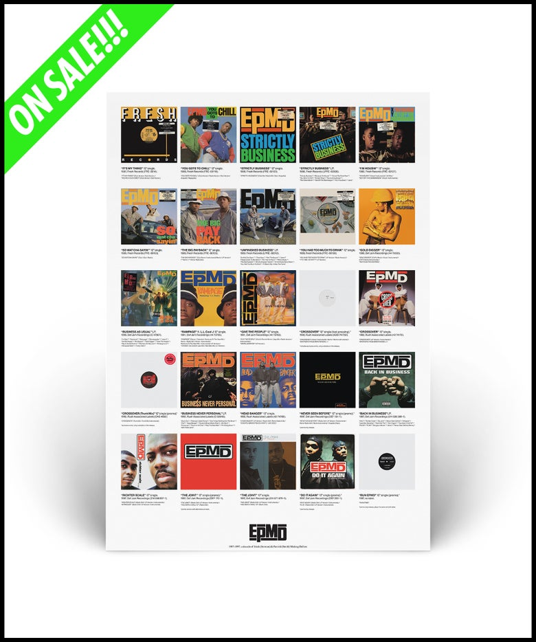 """Image of """"EPMD - U.S. Discography"""" limited edition A2 lithograph poster print"""