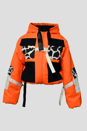 Image of neon cropped puffy jacket