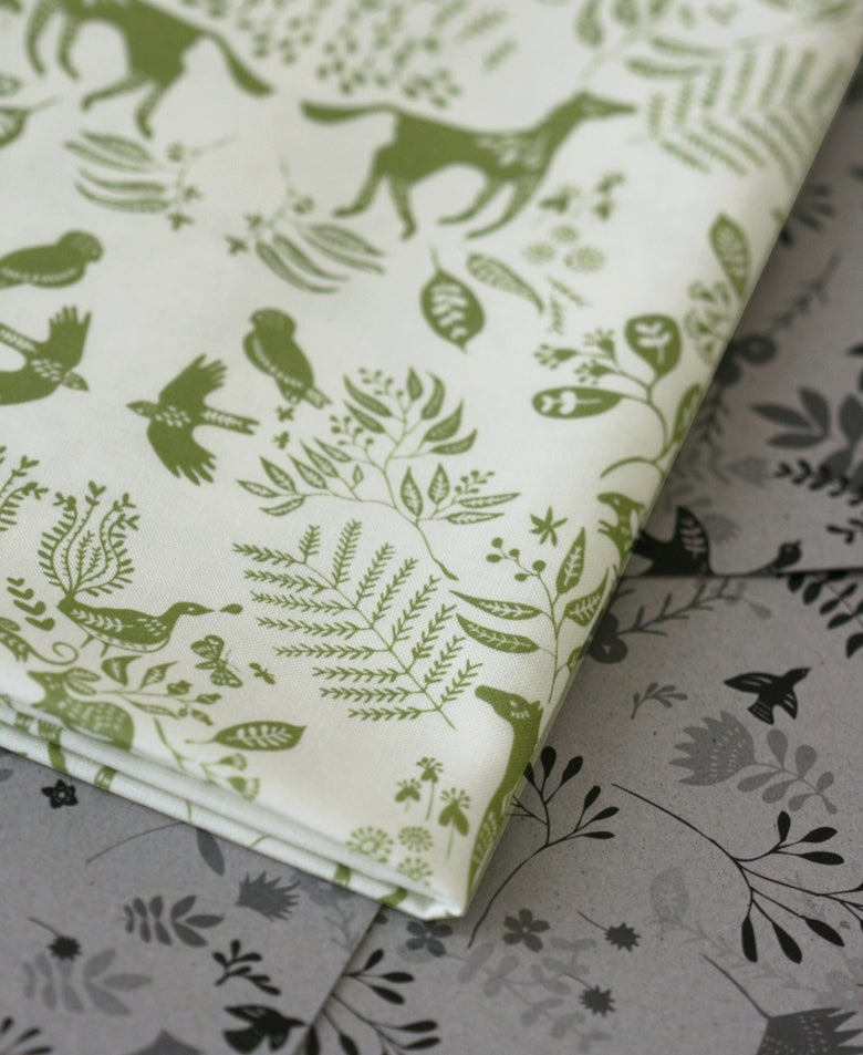 Image of Snowy River Damask - Spring Green on White - Half Yard