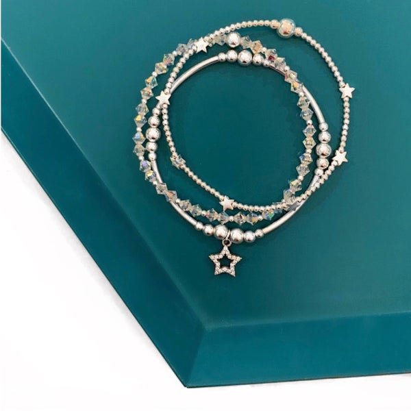 Image of Sterling Silver Star Stack Set