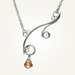 Image of Greek Isle Necklace with Orange Topaz, Sterling Silver