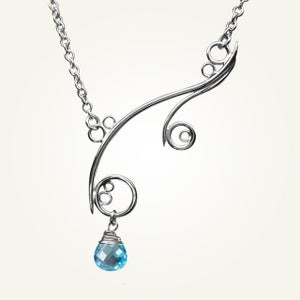 Image of Greek Isle Necklace with Swiss Blue Topaz, Sterling Silver