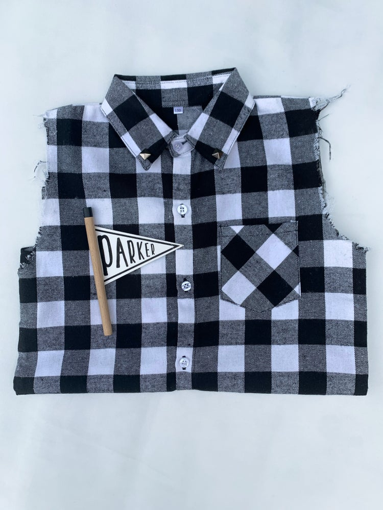 Image of Black Check Tank Shirt