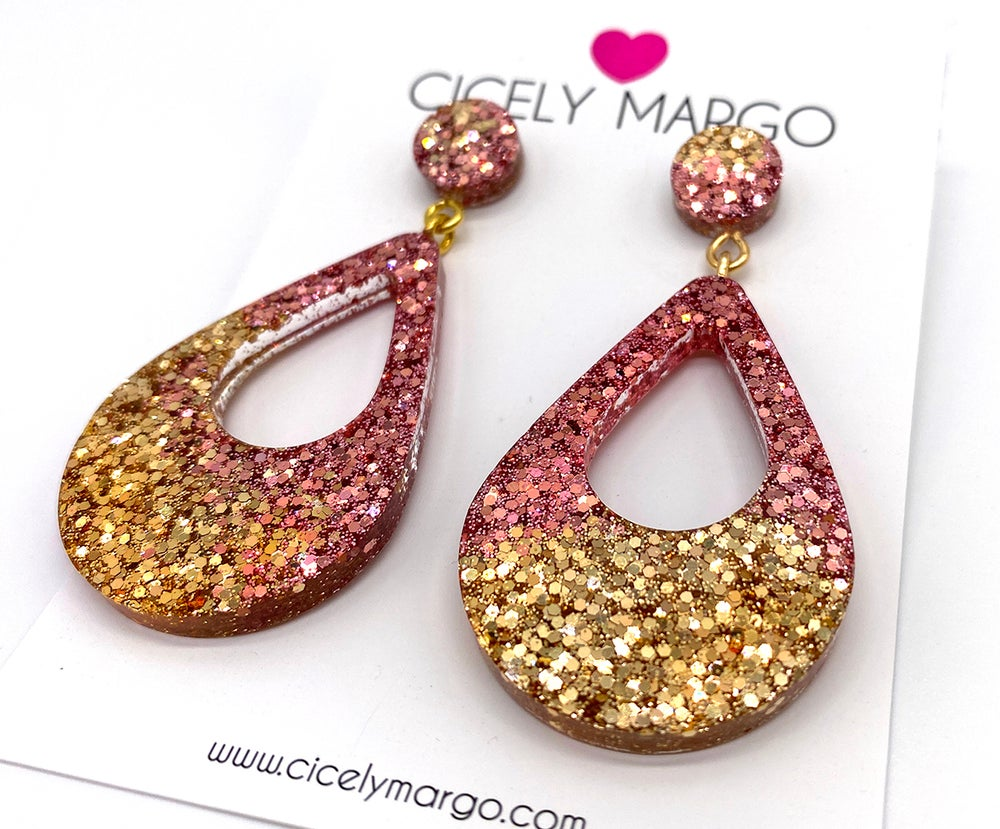 Image of Rose Gold Glitter Statement Earrings