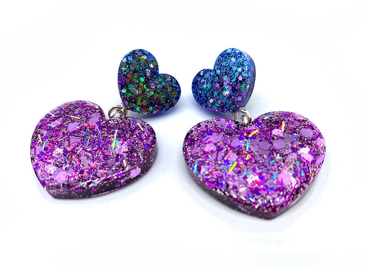 Image of Laser Heart Mini Statement Earrings
