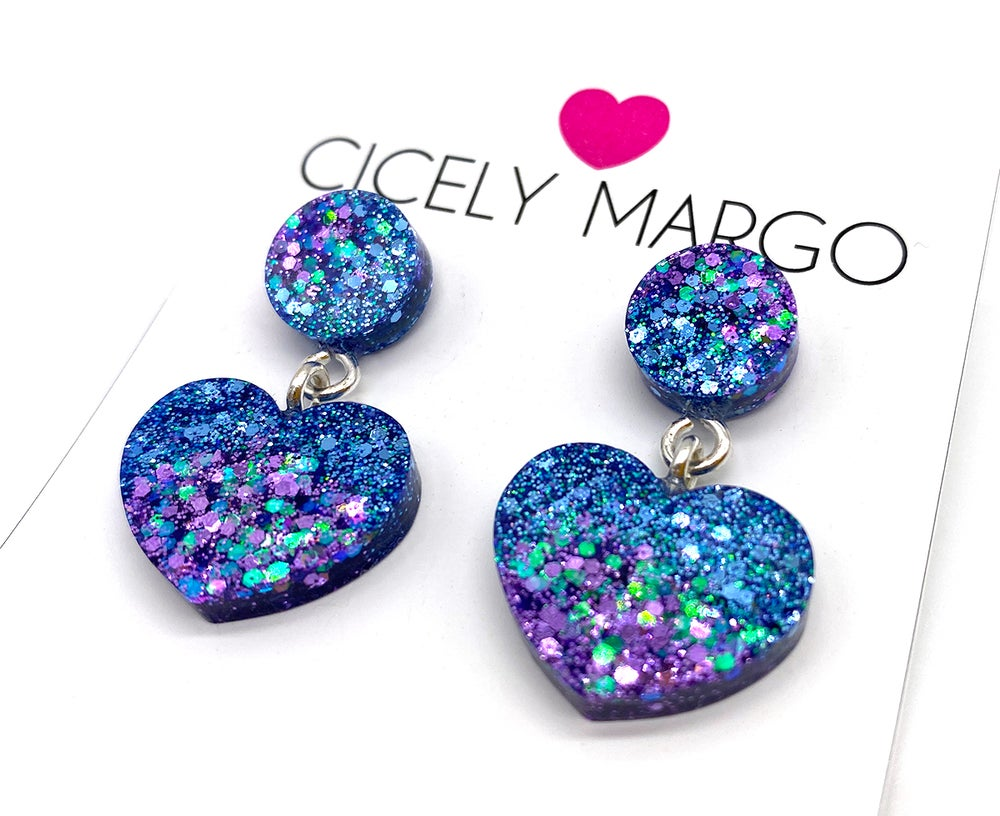 Image of Mermaid Hearts Mini Statement Earrings