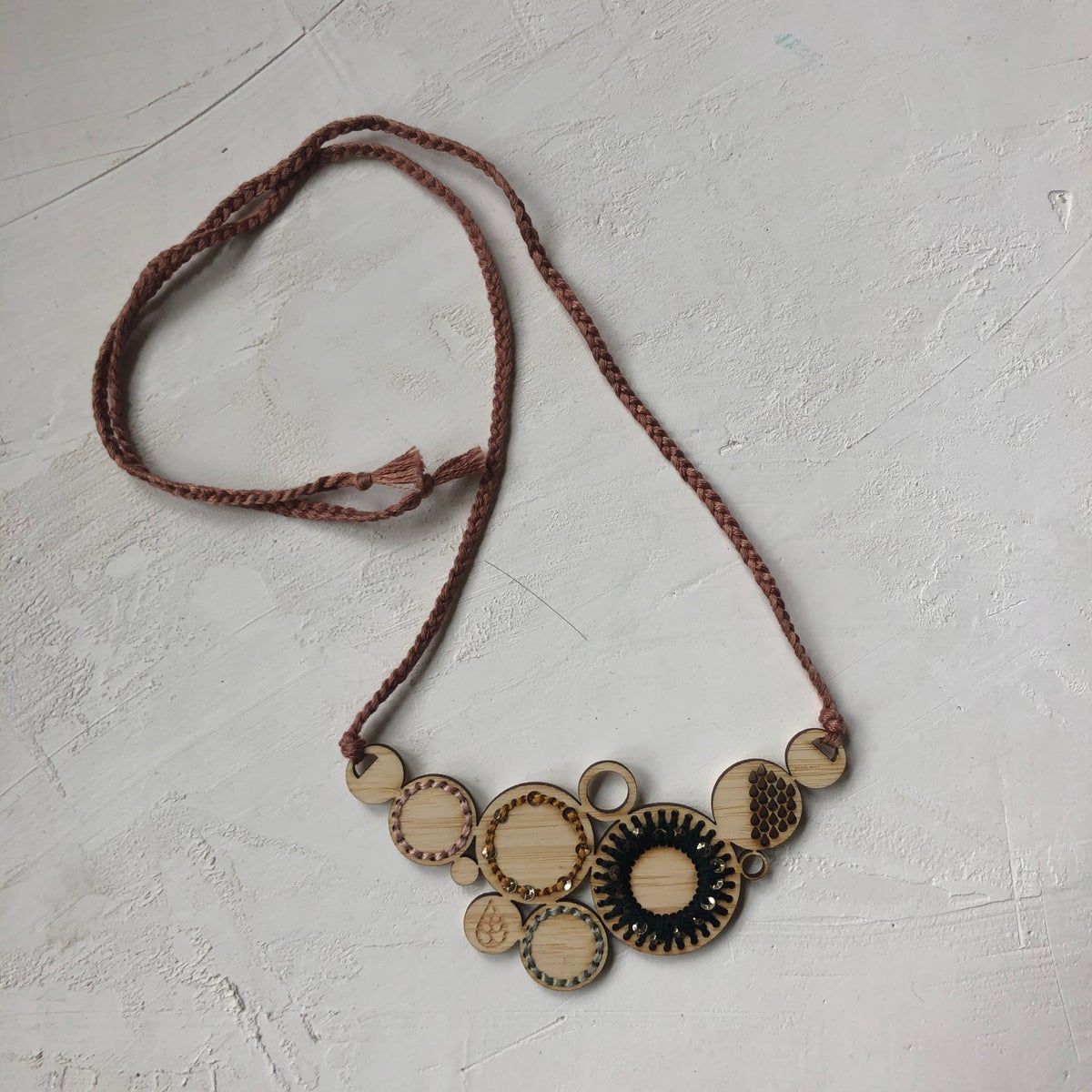 Black Embroidered bamboo Necklace