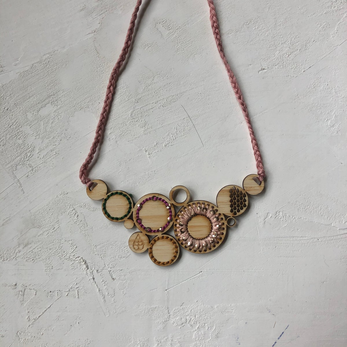 Pale blush Embroidered Bamboo Necklace