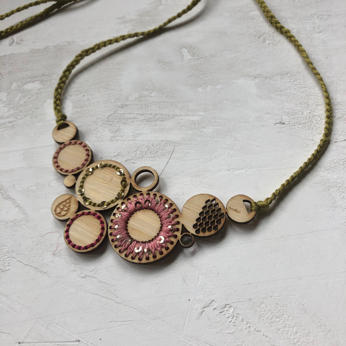 Pink Embroidered Bamboo Necklace