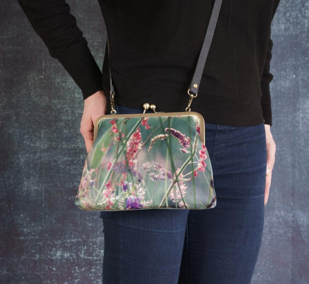 Image of Meadow grasses, velvet kisslock shoulder bag