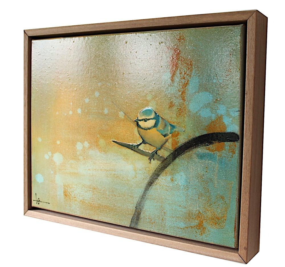 """Image of Original Framed Canvas - Blue Tit on Branch - 14"""" x 11"""""""
