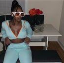 Image 2 of Ganielle 2PC Sweatsuit (Mint/Orange)