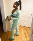 Image 1 of Ganielle 2PC Sweatsuit (Mint/Orange)
