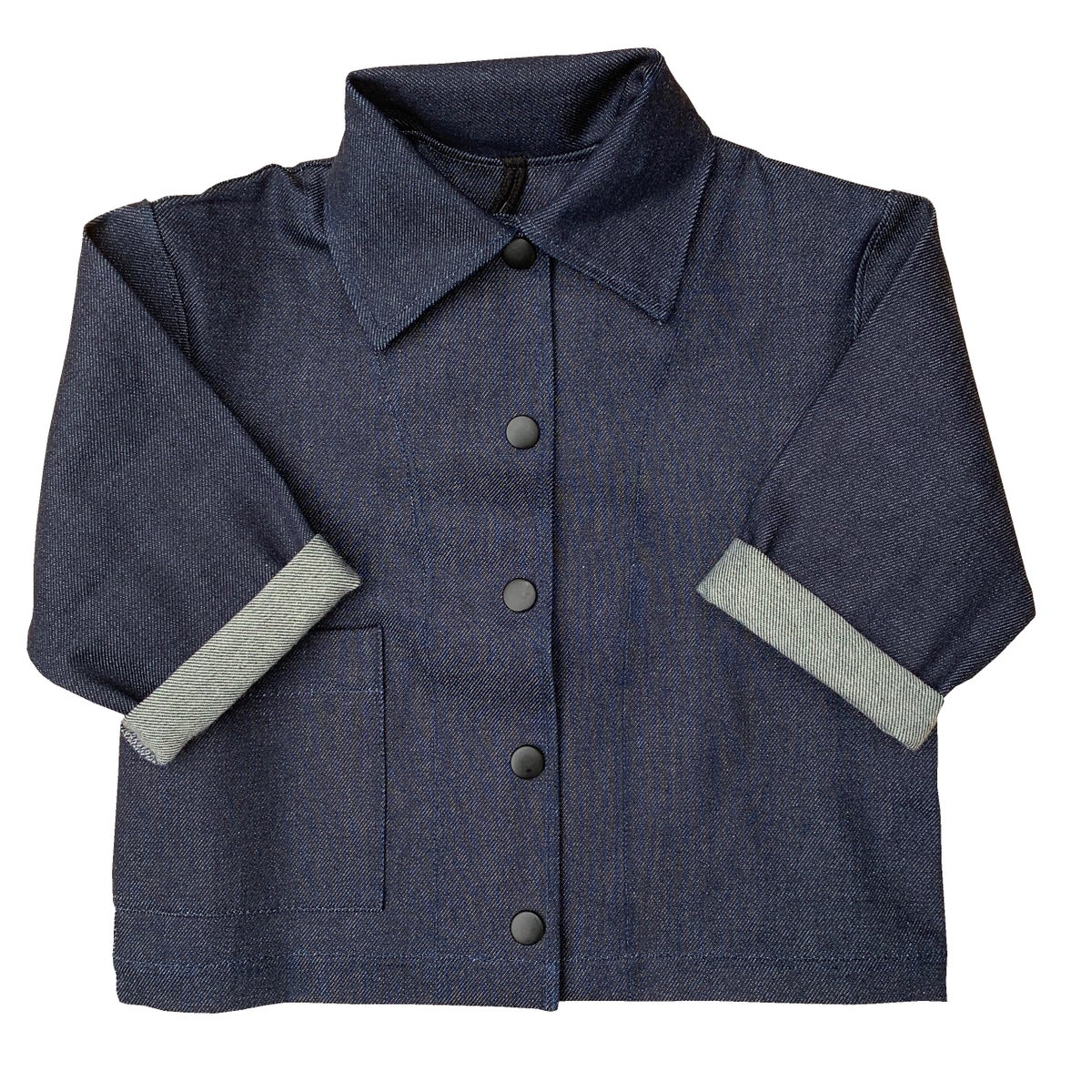 Image of Pippins - Denim jacket in raw indigo.