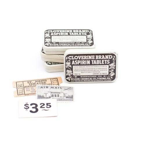 Image of Cloverine Medicine Tin with Neutral Ephemera