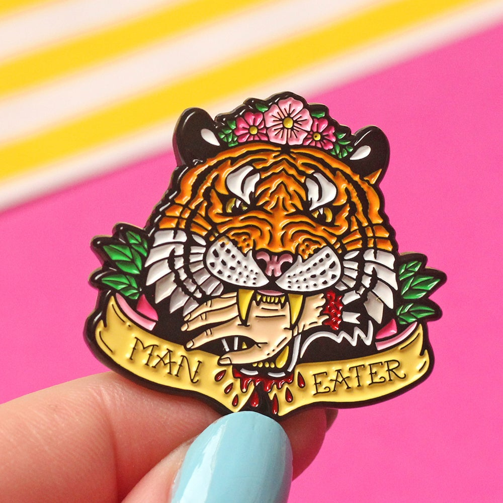 Image of 'Man Eater' tiger enamel pin - tiger king - flower crown - exotic tiger - pin badge