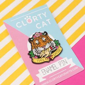 Image of 'Man Eater' tiger enamel pin - tiger king - flower crown - exotic tiger - pin badge