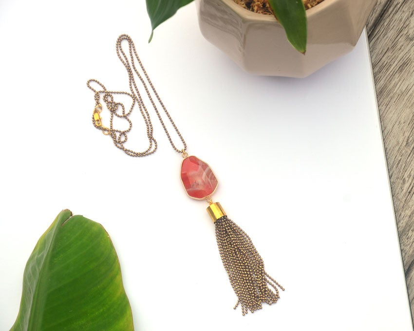 Image of orange agate gemstone tassel necklace