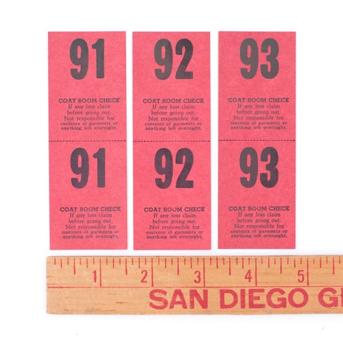 Image of Red Coat Check Tickets - Set of 12