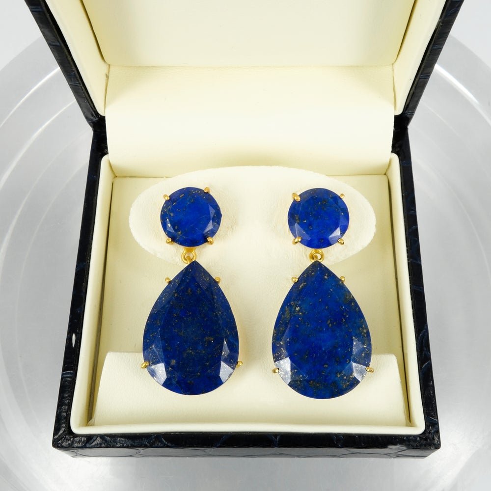 Image of M2888 - Sterling silver gold plate Lapis drop earrings