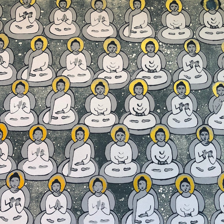Image of Starry Night Sky and Gold Buddhas