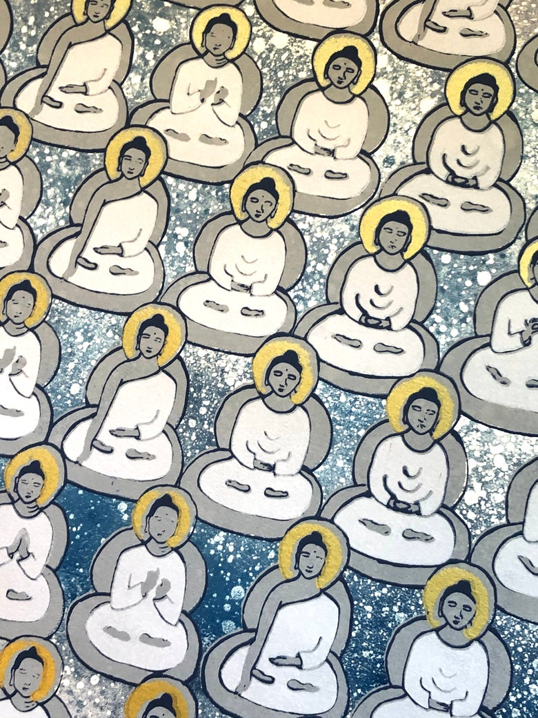 Image of Washed Blue, Gray and Gold Buddhas
