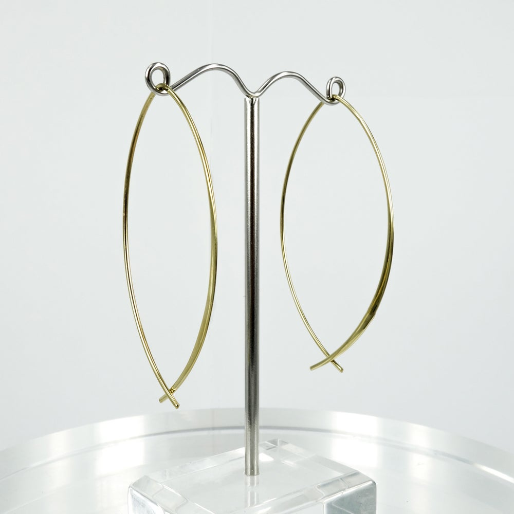 Image of M3151 - Sterling silver gold plated contemporary wire hoop earring